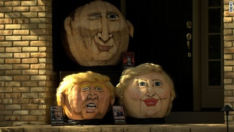 Donald Trumpkin returns ... with a pumpkin posse