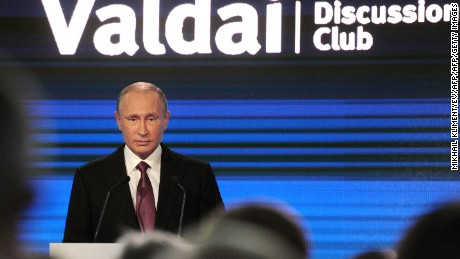 Russian President Vladimir Putin gives a speech at a Valdai Discussion Club meeting of political scientists in Sochi on October 27, 2016. / AFP / SPUTNIK / Mikhail KLIMENTYEV        (Photo credit should read MIKHAIL KLIMENTYEV/AFP/Getty Images)