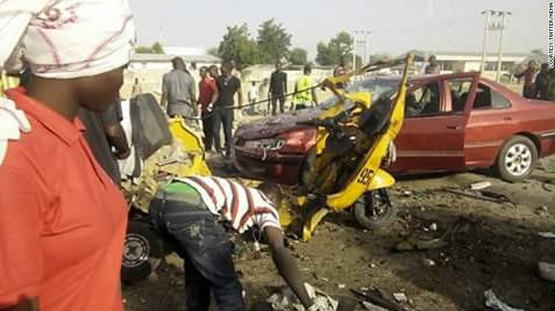 Emergency workers at the scene of Saturday's bomb blast in northeastern Nigeria.