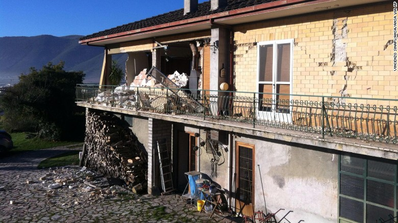 Sunday's quake damages a building in Norcia, where many people are afraid of leaving.