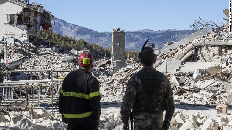 The town center of Amatrice appears to be almost completely destroyed in Sunday's powerful quake.