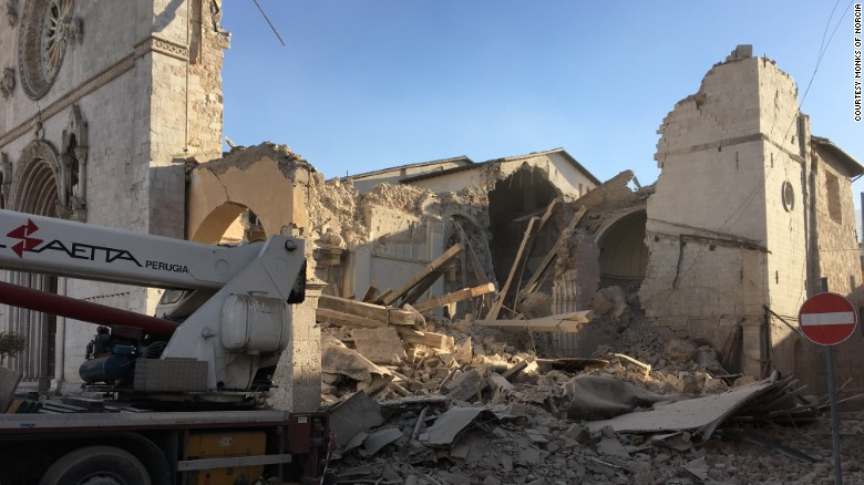 Sunday morning's quake has leveled much of the Basilica of San Benedetto in Norcia.