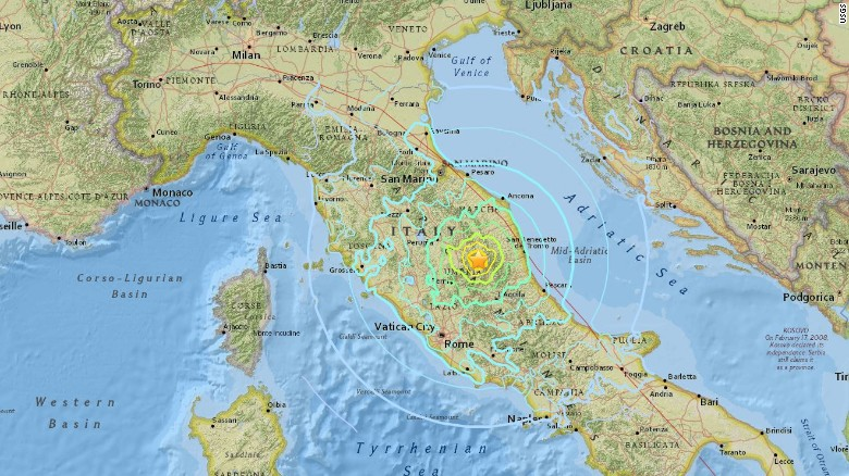 Sunday's earthquake struck 6 kilometers north of Norcia, according to the US Geological Survey.