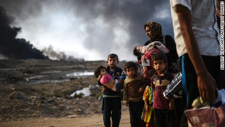 Many Iraqi families have been displaced by the ongoing operation to retake the city of Mosul from ISIS.