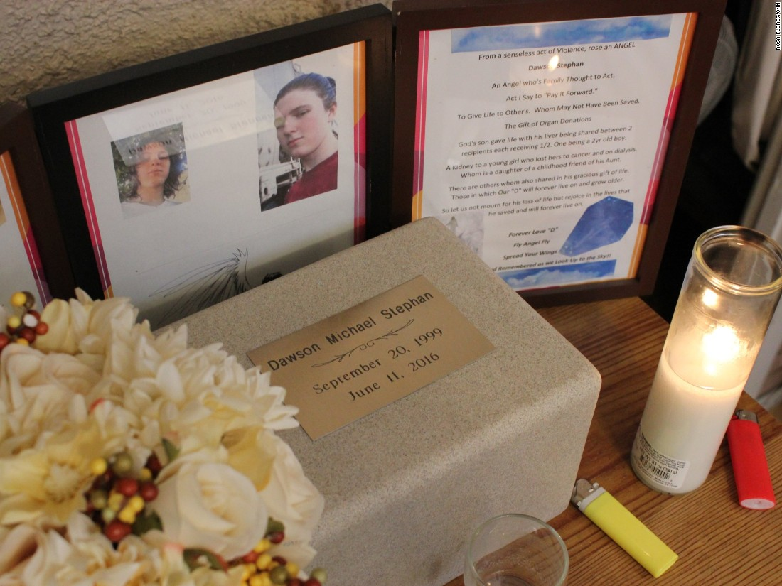 Michelle keeps a memorial for her son dawson in the living room