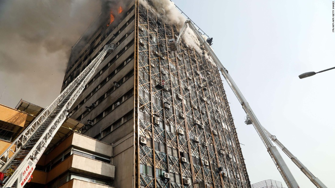 Blaze causes building collapse on TV