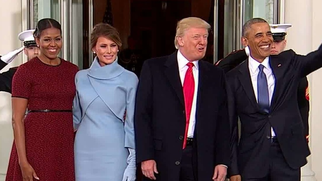 The Obamas greet the Trumps at White House