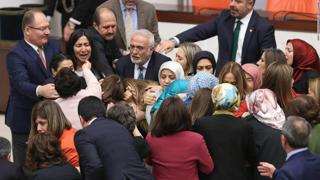 Female lawmakers brawl in Turkish parliament