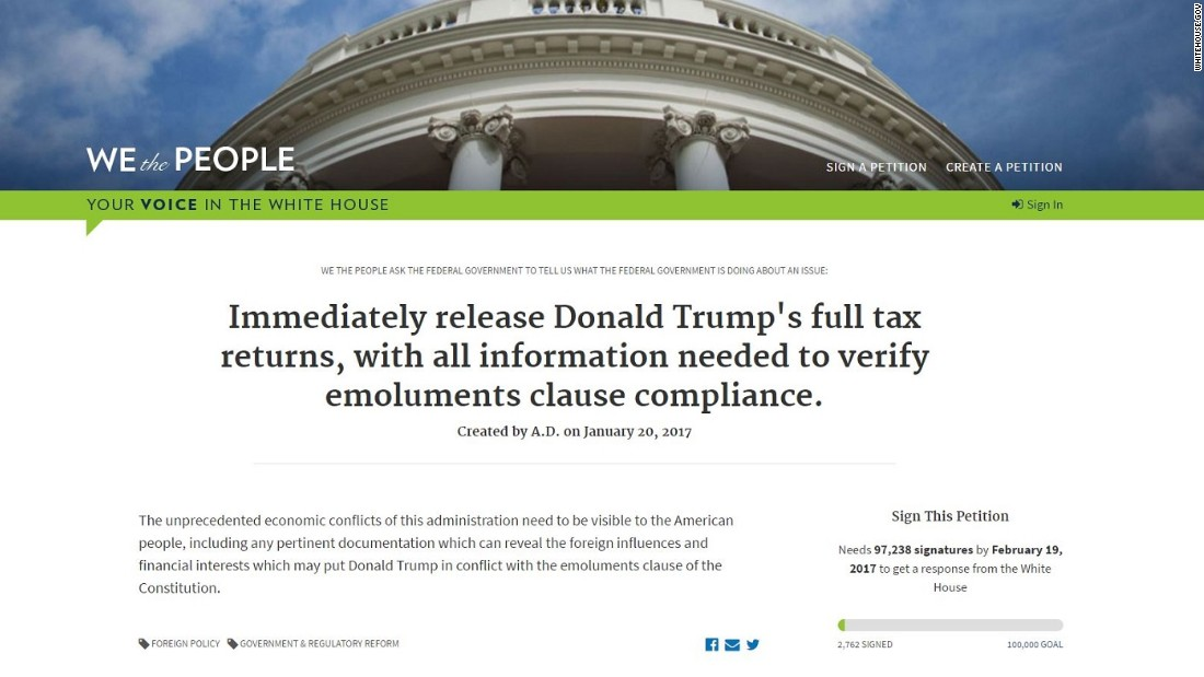 The 1st Trump White House Petition is in: Release tax returns