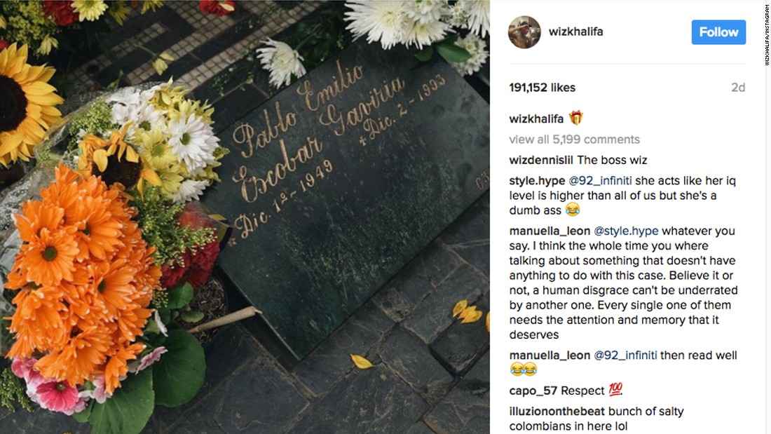Rapper Wiz Khalifa called a 'scoundrel' after visit to Pablo Escobar's grave