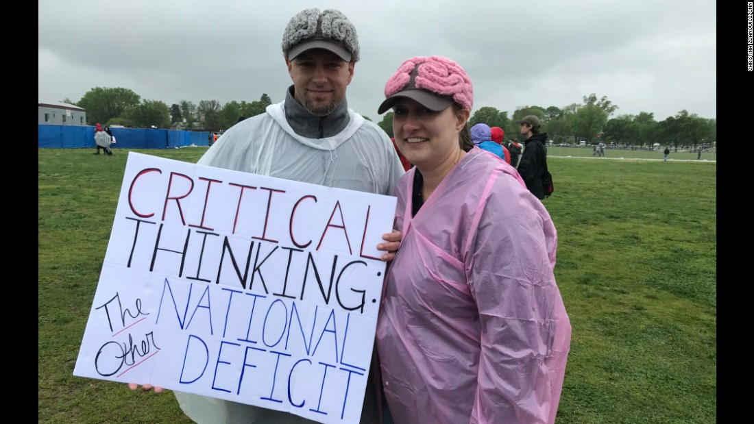 Brain hats send a message at March for Science