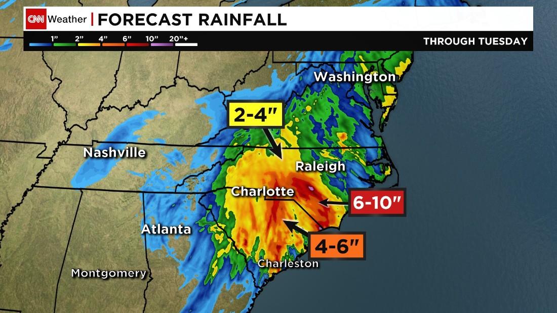 Millions under flood threat in Carolinas