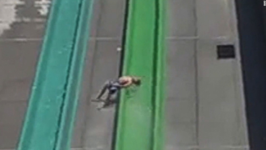 Video shows boy fall off water slide