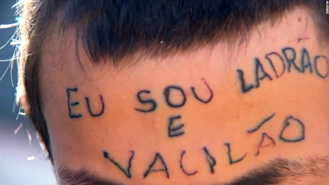 'I am a thief' tattooed on head of 'bike thief'