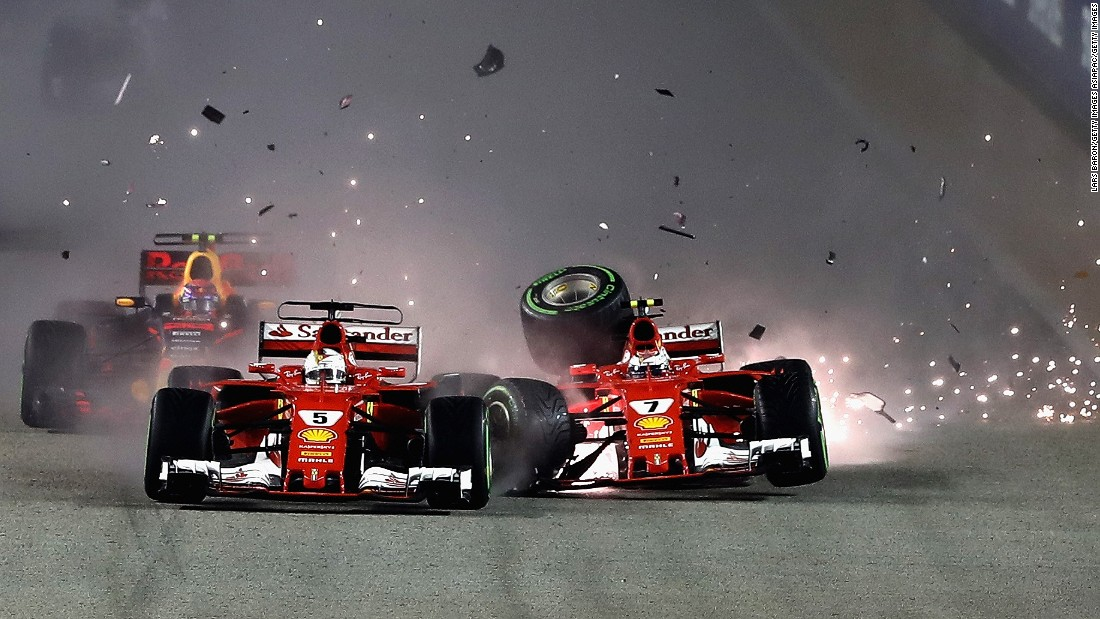 F1: Hamilton on title, Vettel crashes out