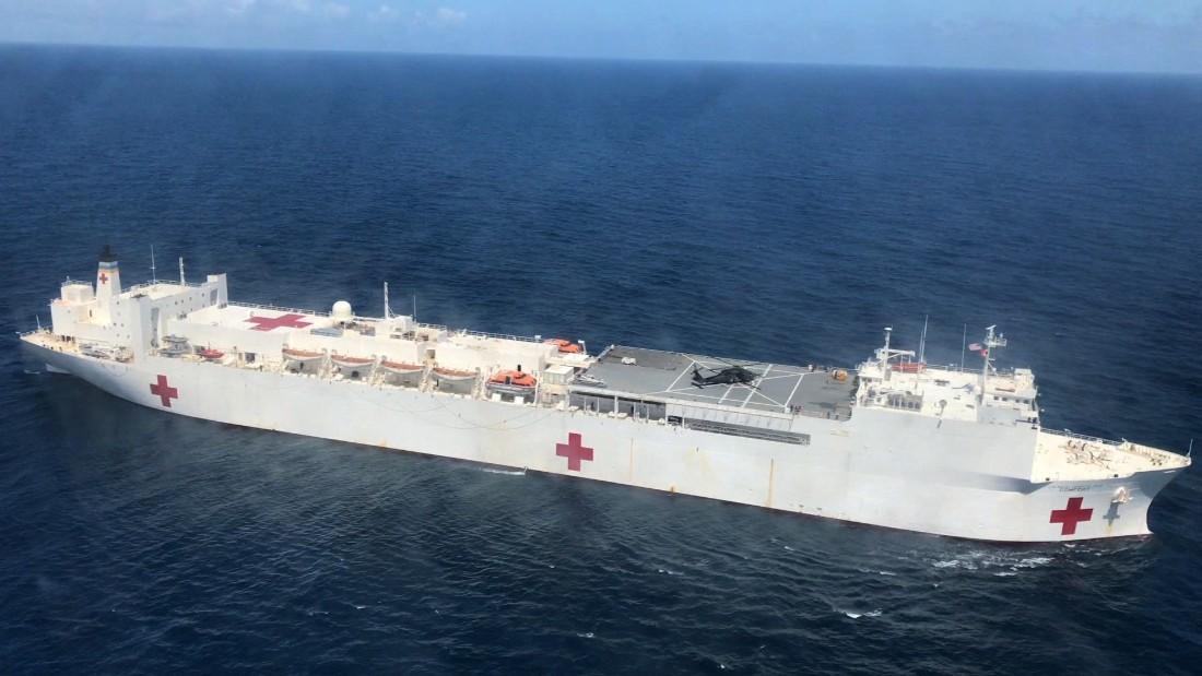 Off coast, hospital ship sits nearly empty