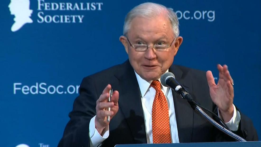 Sessions jokes to crowd: 'Any Russians' in the room?