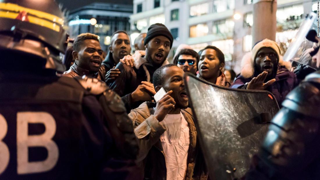 Paris: Protests over CNN's migrant auctions report