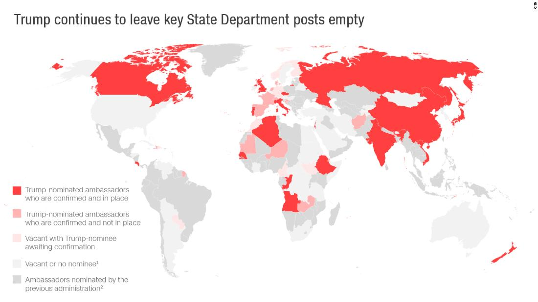 This map shows Trump nominations for posts around the world