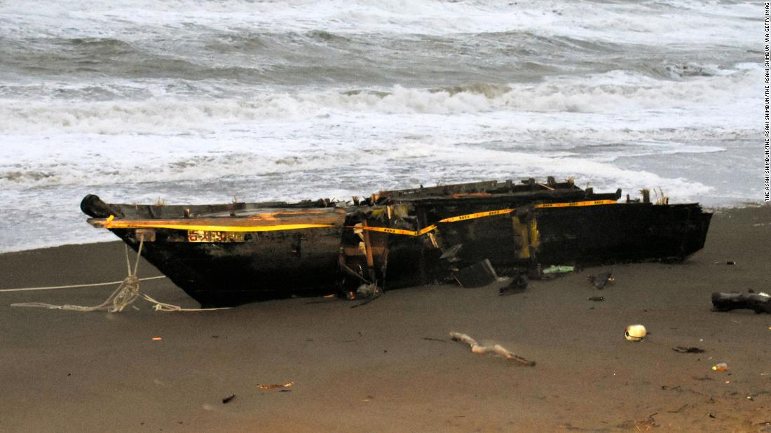 North Korean 'ghost ship' ashore in Japan