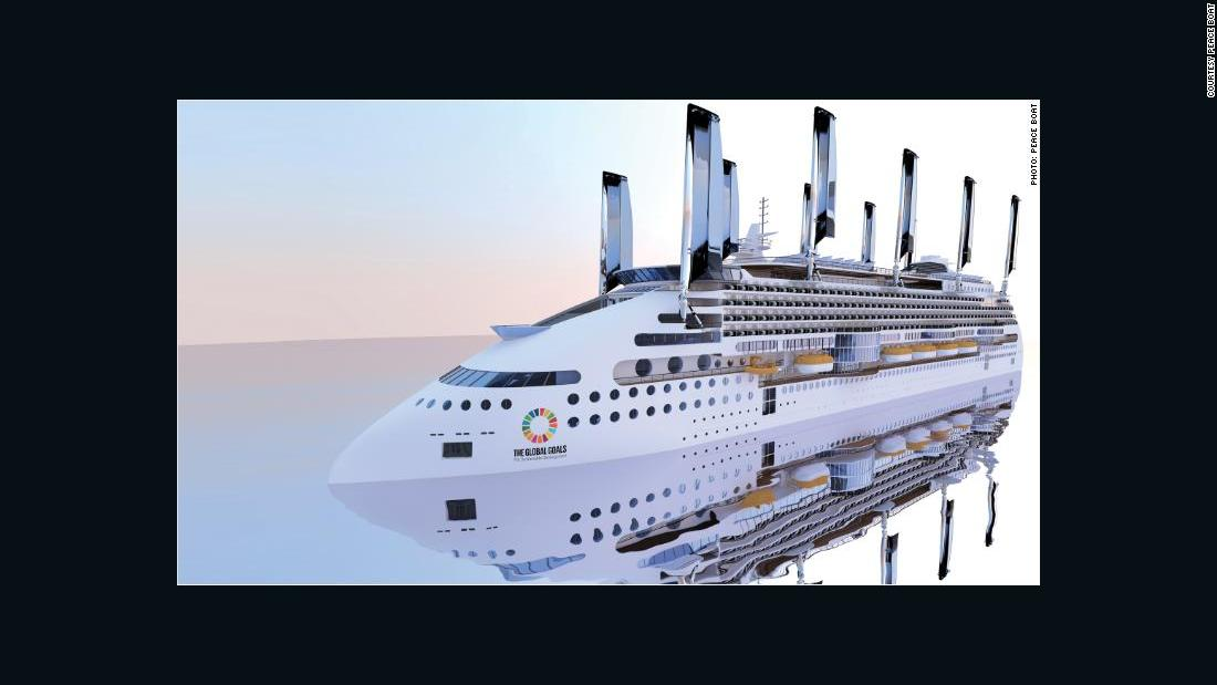 Luxury cruise ship powered by sails and solar