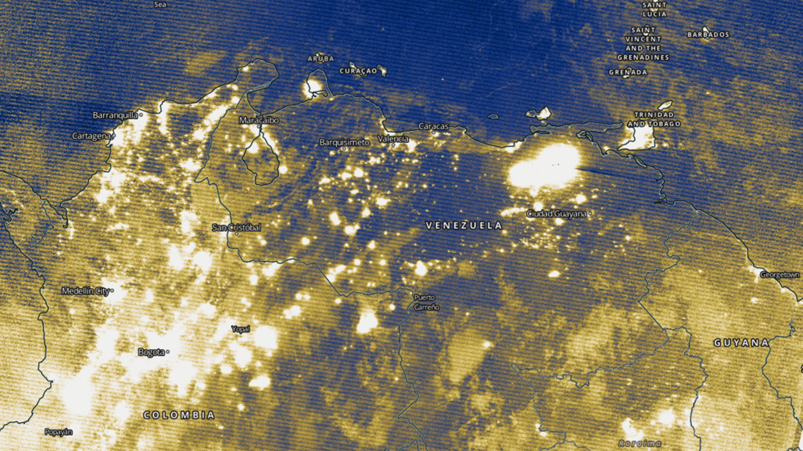 Image of Venezuela's electricity map after the blackout.
