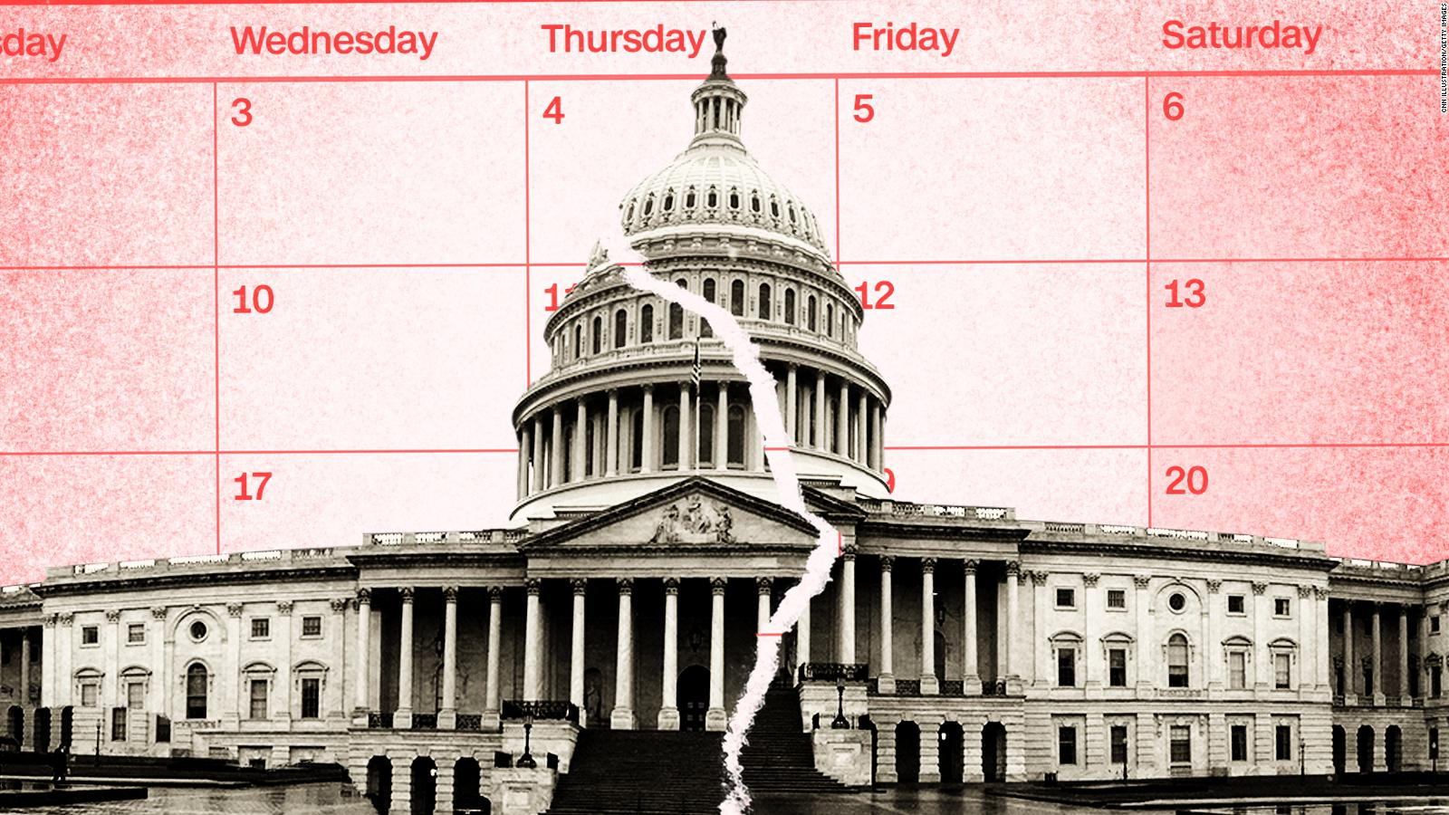 A digital illustration of the Capitol split in two with a calendar