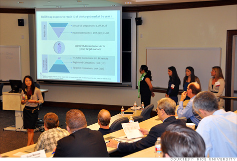 A group of potential investors listen to a presentation at the Rice University Business Plan Competition.