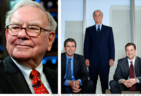 Warren Buffett and (l to r) Protégé Partners Scott Bessent, Jeffrey Tarrant, and Ted Seides.