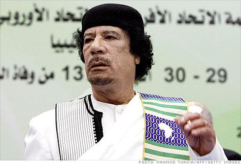 Libyan leader Moammar Gadhafi