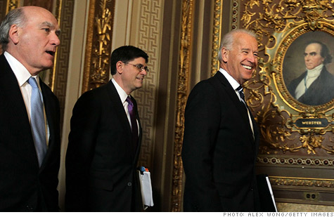 Chief of Staff William Daley, budget director Jacob Lew and Vice President Joe Biden on Capitol Hill.