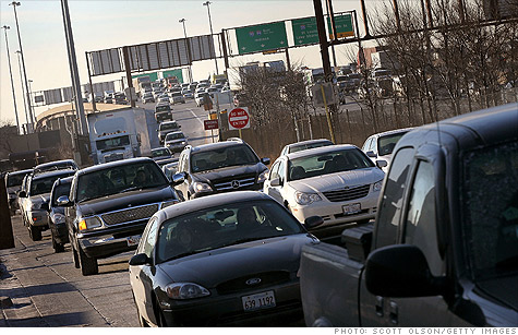 A traffic jam in downtown Chicago, which is tied with Washington, D.C., for worst traffic congestion.