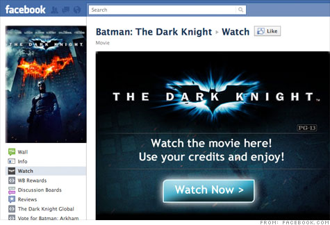 Warner Bros. will offer The Dark Knight for rental through its Facebook page. More movie titles will be available in the coming months.