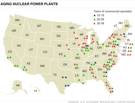 Nuclear Reactors In US Are Aging Half Over Years Old Mar - Map nuclear power plants in us