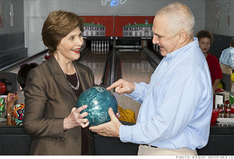 Parties at Amend's club attract celebrity guests like former First Lady Laura Bush.