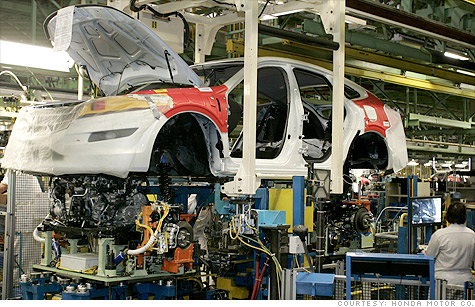 cars, car production, honda, toyota, ford, general motors, chrysler, assembly line, automaker, factory workers
