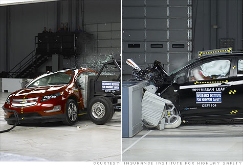 The Chevrolet Volt and Nissan Leaf earn coveted crash test scores from the Insurance Institute for Highway Safety.