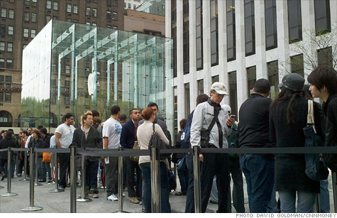 Customers waited in line at Apple's Fifth Avenue store to be the first to get the white iPhone 4.