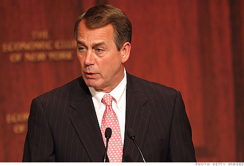 House Speaker John Boehner wants big spending cuts in exchange for support to raise the debt ceiling.