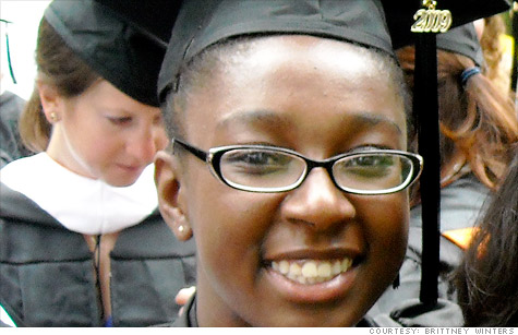 Brittney Winters graduated from Princeton, but couldn't find a teaching job. She's taken various jobs -- including a stint at a video store -- to make ends meet.