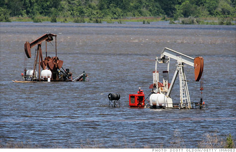 Mississippi River floods, oil wells, gas prices