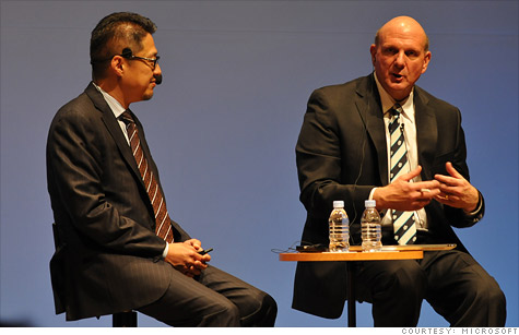 Steve Ballmer (right) spoke with Microsoft Developer Lead Akihiro Oba in Tokyo about Windows 8 this week.