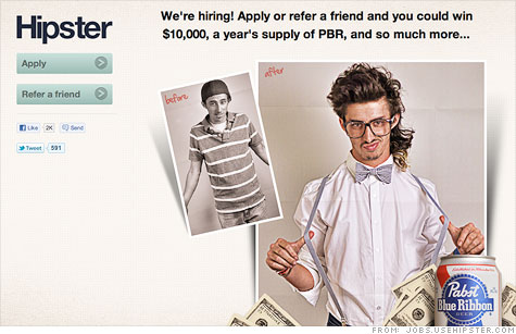 Hipster baits job applicants with $10,000 and free beer