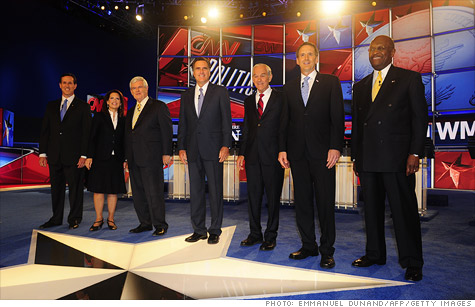 The seven Republican presidential candidates at a debate on CNN Monday night.
