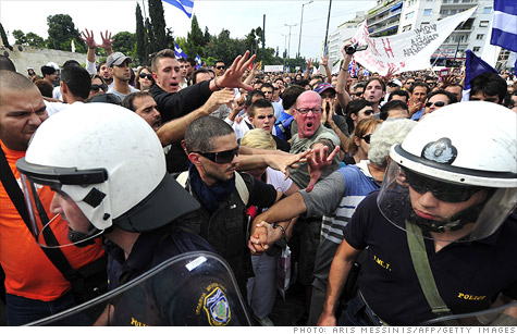 Austerity measures to combat Greek debt crisis trigger protests