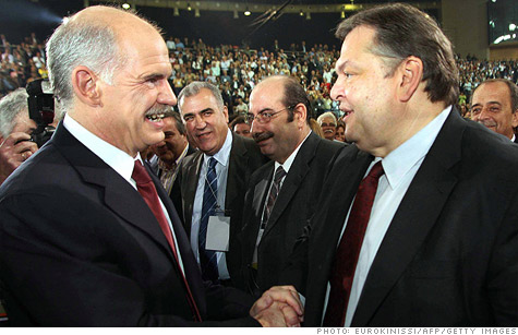 Greek Prime Minister George Papandreou, left, appointed Evangelos Venizelos, right, as finance minister. They are shown here in a 2007 photo.