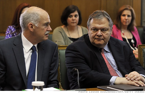 Greek Prime Minister George Papandreou, left, met last week with Evangelos Venizelos, right, who was recently appointed as finance minister.
