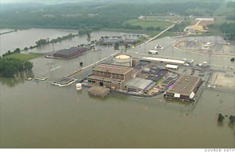 Flood waters surround the Fort Calhoun nuclear power plant in Nebraska. Activists fear other U.S. plants are at risk.