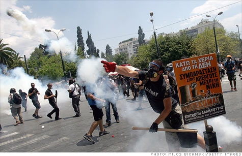 Protests have gotten violent in Athens, as the Greek Parliament gets ready to vote on a new wave of austerity measures.