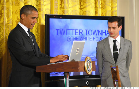 President Obama sends out a tweet to kick of his first-ever Twitter town hall Wednesday, alongside Twitter Co-founder Jack Dorsey.